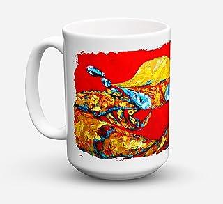 Caroline's Treasures MW1115CM15 Crab Fat And Sassy Microwavable Ceramic Coffee Mug, 15 oz, Multicolor