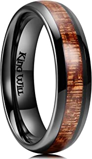 King Will Nature 3mm 4mm 5mm 6mm Black Domed Koa Wood Ceramic Ring Wedding Band Polished