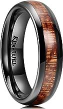 King Will Nature 3mm 4mm 5mm 6mm Black Domed Koa Wood Ceramic Ring Wedding Band Polished