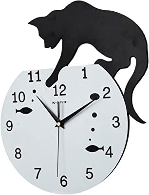 Perfect House Continental Cartoon Creativity Personality Decoration Gifts Silent Cat Wall Clock Bedroom Living Room Restaurant