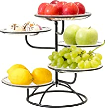werty 5 Tier Countertop Metal Fruit Basket, Household Storage Rack for Storing & Organizing Fruits Vegetables Snacks (Blac...