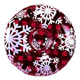 """PIPELINE SNO Red Hot Plaid Inflatable 2 Person MEGA Snow Tube with 4 Grip Handles, 48"""" Inch Diameter"""