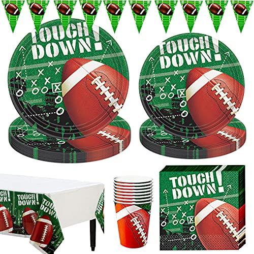 Amycute Rugby temática Decoraciones Vajilla de Fiesta de Cumpleaños para 16 Personas, Rugby Party Supplies Suministros para Fiestas Fútbol Platos,Vasos,Servilletas,Mantel, 66pcs