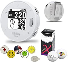 $88 » GolfBuddy VoiceX White Bundle with 1 Magnetic Hat Clip and 5 Ball Markers and Saintnine 2 Ball Sleeve & Auto Course Update...