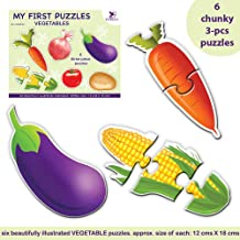 Toykraft: My First Puzzle - Vegetables - 6 Chunky Self-Correcting Matching Puzzles for Toddlers & Preschoolers