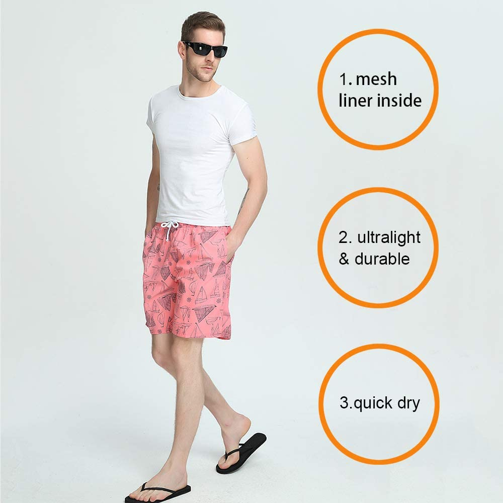 FREDRM Mens Swim Trunks Quick Dry Board Shorts with Mesh Lining Swimwear Bathing Suits