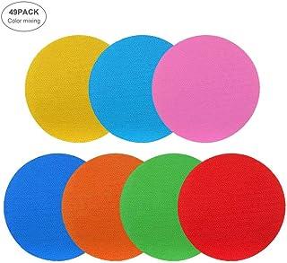 Hamkaw Spot Markers 49pcs Intelligent Colorful Carpet Sticker Set Non-Slip Carpet Markers Pack for Children Kids Activities Training Gaming Learning