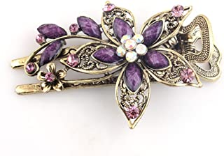 Buankoxy Women's Petal Crystal Hair Clips Hairpins- For Hair Clip Beauty Tools (Purple)