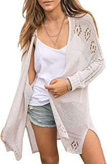 Womens Open Front Knit Sheer Cardigans Summer Boho...