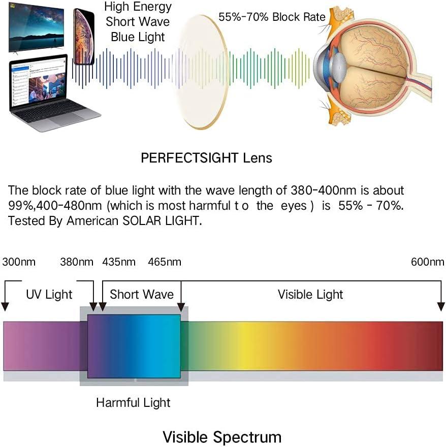 PERFECTSIGHT Clip on Blue Light Blocking Computer Gaming Glasses,Anti Blue Ray Video/TV Lenses for Men and Women,UV Blocking Anti Eye Strain Fatigue Dry Eyes Relief Unisex Reading Eye wear