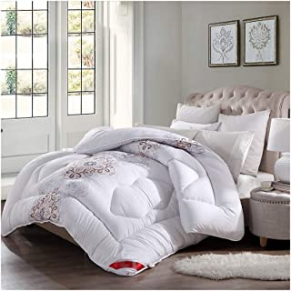 Luxurious Duvet Spring/Autumn/Winter Thickened Keep Warm Single/Double Bedding - White Comforter Family/Student Dormitory - Brushed Fabric Breathable Fluffy Quilt (Size : 220240cm 4.5k)