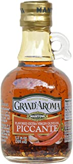 8.5 Oz Grand'aroma Piccante Flavored Extra Virgin Olive Oil, infused with hot peppers brings just the right touch of spicy flavor to all kinds of dishes. Great with Mexican or Thai food, with pasta, pizza, shrimp, or drizzled over fresh goat cheese for a spicy appetizer.