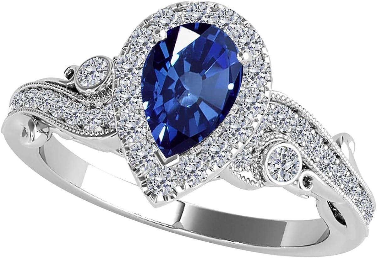MauliJewels Rings for Women 1.35 Carat Pear Shape Geniune Gem Stone And Round Diamond Ring Prong-Setting 10K Rose White Yellow Gold Gemstone Wedding Jewelry
