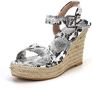 3c73168c9225be Sandale Compensées Femme Plateforme Été Espadrilles Bout Ouvert Bohême  Wedge Chaussures à Sangle Talon 10.5 cm