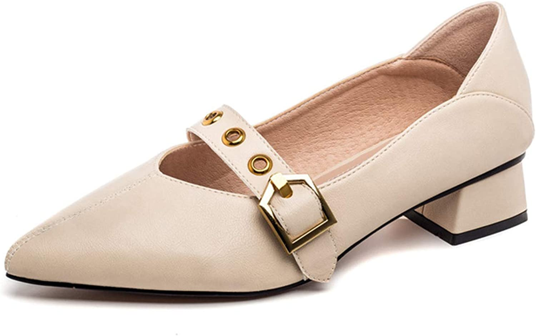 Mashiaoyi Women's Retro Pointed-Toe Block-Heel Mary-Jane Buckle Pumps