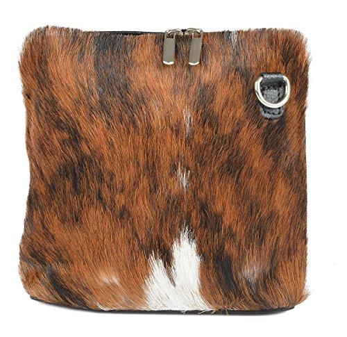 Echte, einzigartige Kuhfell Handtasche - Made in Italy Kalbsleder/Kuhfell