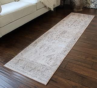 Masada Rugs, Vintage Distressed Faux Silk Area Rug (2 feet x 7 feet) Runner