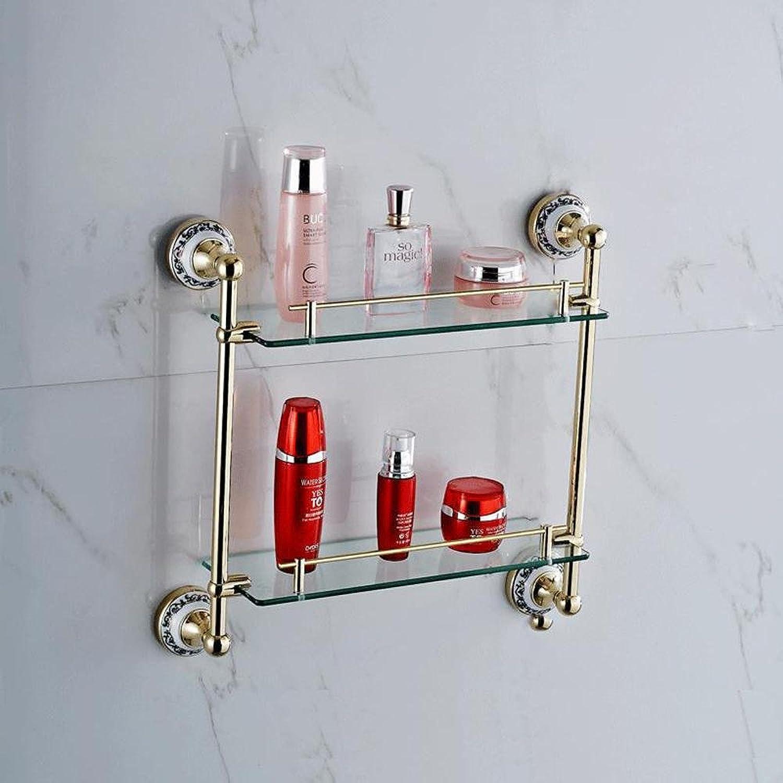 XAH@ golden copper + zinc alloy glass bluee and white porcelain double bathroom rack , golden