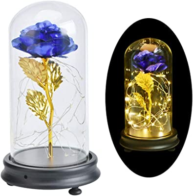 Galaxy Rose Glass Rose Flower Forever Rose 24k Blue Rose Best Gifts for Women, Christmas, Wedding,Valentine's Day, Anniversary and Birthday (Blue)