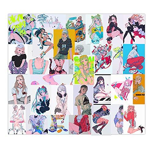 BUCUO Ilustración Japonesa Harajuku Chica Pegatina para Ordenador portátil con Funda para teléfono móvil Pegatina Impermeable para Taza de Agua 32 Uds
