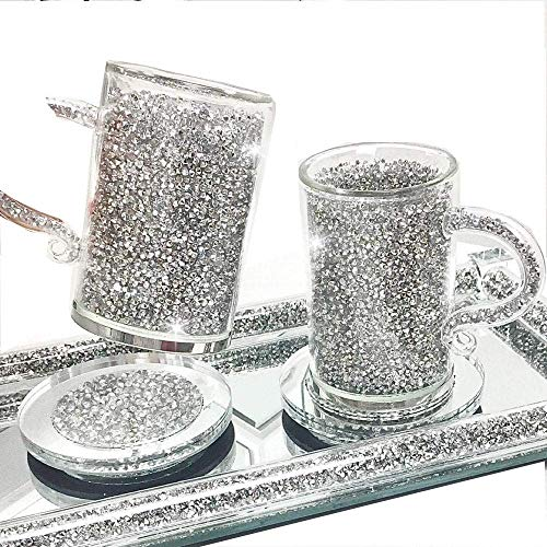 Value For Money Silver Crushed Diamond Crystal Filled Glass Mug Turkish Coffee Tea Cup and Saucer Set of 2 with Silver Trimmings