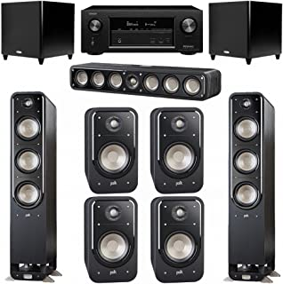 Polk Audio Signature 7.2 System with 2 S60 Tower Speaker, 1 Polk S35 Center Speaker, 4 Polk S20 Bookshelf Speaker, 2 Polk DSW PRO 660 wi Subwoofer , 1 Denon AVR-X2300W AV Receiver