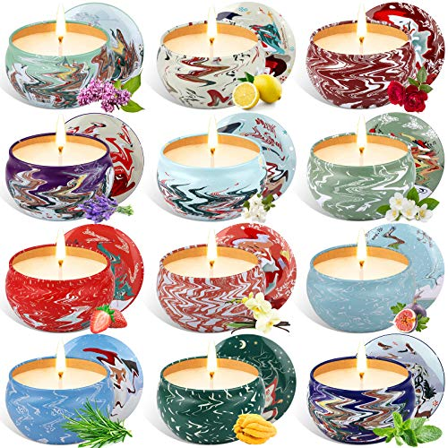 Apsung Christmas Scented Candles, Natural Soy Wax 2.5 Oz Portable Travel Tin Candle Gift Set, Aromatherapy Candles with Strongly Fragrance Essential Oils for Christmas Decoration - 12 PCS
