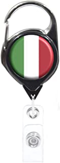 Officially Needed-Italy Country ID Badge Holder, Black Retractable Carabiner Clip | Great Office Supplies or Holding Keys | Gifts for Women, Teachers, Nurses, Professionals, Government, New Hires