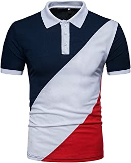 ecb25991f WYTong Men's Casual Color Block Golf Shirt Slim Fit Short Sleeve Button T  Shirt Tees