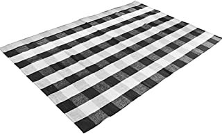 Levinis Buffalo Checkered Rug Hand-Woven Cotton Plaid Area Floor Rugs for Living Room Bedroom, 3.9 x 5.9 Feet, Black and White