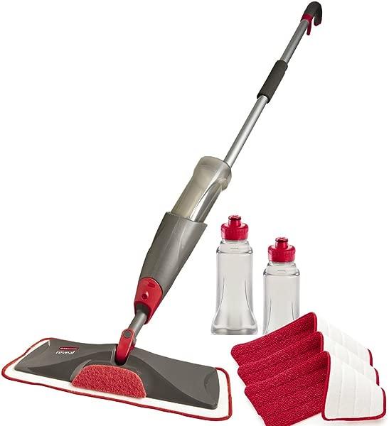 Rubbermaid Reveal Spray Mop Floor Cleaning Kit Bundles 1 Mop 3 Multi Surface Microfiber Wet Mopping Pads 2 Refillable Bottles 1892663