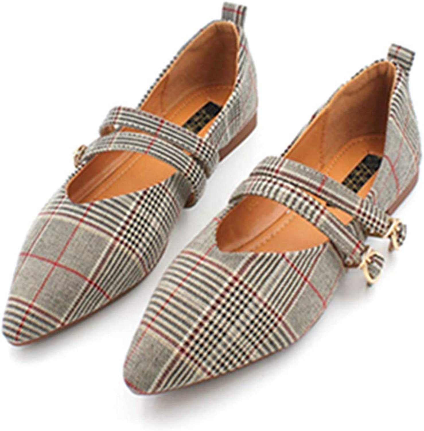 Kyle Walsh Pa Women Flats shoes Plaid Strap Buckle Pointed Toe British Style Ladies Fashion Footwear