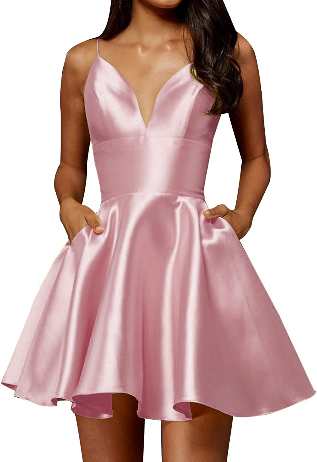 Short Homecoming Dresses with Pockets Spaghetti Straps ALine Cocktail Gown 2018