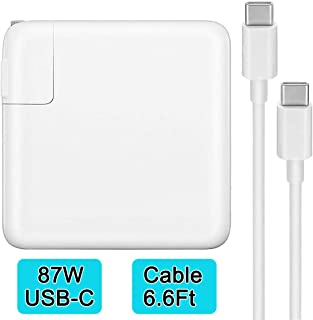 87W USB-C Power Adapter Charger Compatible with MacBook Pro/Air 15 Inch 13 Inch with USB-C to USB-C Cable Replacement USB-C Charger for Laptop