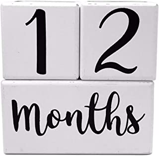 Baby Milestone Blocks, Baby Monthly Milestone Blocks, Baby Age Months Wood Photo Prop Wooden Number Month Block for Babies Pictures, Gender Neutral Boy or Girl Shower Gift, Infant Registry Gifts