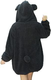 Women's Warm Hoodies Winter Loose Fluffy Bear Ears Cut Jacket Outerwear Coat
