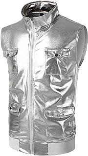 Shiny Gold Vest, Men's 2018 New Night Club Stand Collar Men's Vest Vest Stage Wedding Host Single-Breasted Vests Men (Color: Blue, Size: M) (Color : Silver, Size : 2XL)