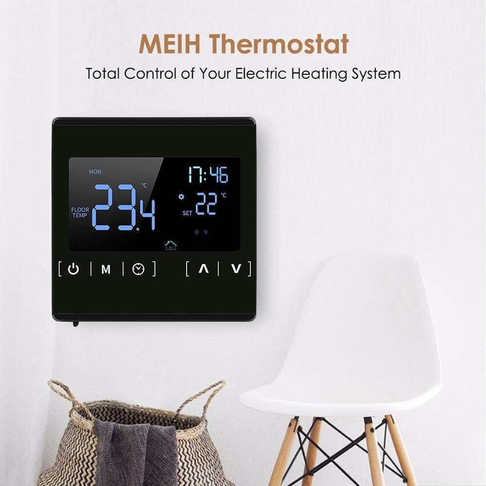 Thermostat /électrique Chauffage Sol KKmoon/® AC 85-250V Thermostat Intelligent /à /écran Tactile LCD pour Syst/ème de Chauffage au Sol /électrique Programmable /à la Maison Thermor/égulateur de Chauffage