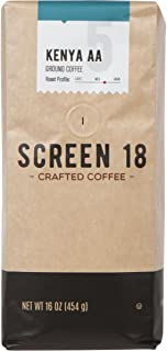 Screen 18 Kenyan AA Single Origin Premium Crafted Coffee, Ground, Medium/Dark Roast, 1 LB Bag