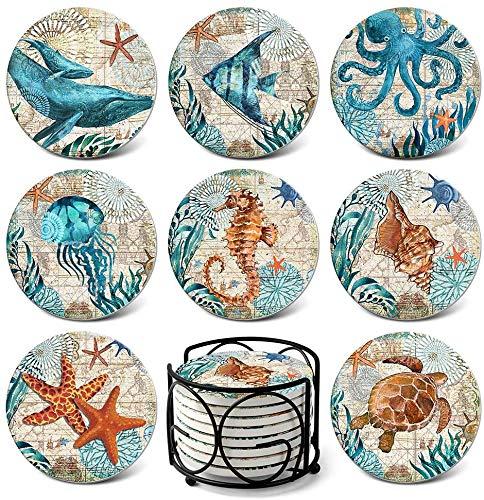 Sottobicchiere in ceramica animale marino