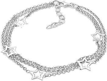 Elli Femme Bracelet de Cheville Demi-Lune /Étoile Astro 925 Argent Plaqu/é Or 22cm