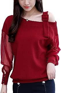 SansoiSan Womens One of Shoulder Mesh Chiffon Long Sleeve Patchwork T-Shirts Women Fashion Tees Tunic Tops