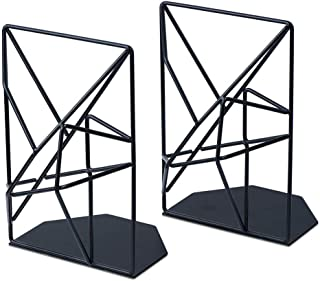 Kathleen0 Book Ends 1 Pair Office Desk Organizer School Portable Gift Students Geometric Design Metal Stand Nonskid Home Document Holder Storage Stationery Show
