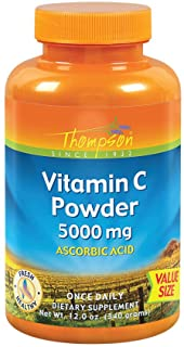 Thompson Vitamin C Powder | 5000mg | 100% Pure Ascorbic Acid | Immune Support & Antioxidant Supplement (12 oz)