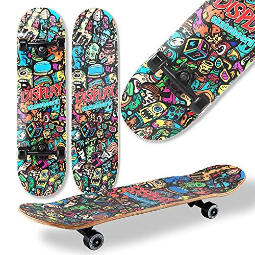 WeLLIFE Skateboard Completo Doppia Grafica per Principianti RGX DBL 460 Skate Board in Legno 79x20 cm in 9 Strati d'Acero Concavo Double Kick per Bambini Ragazzi Adulti
