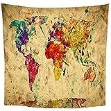 binghongcha Tapiz Vintage Mapa Indio Pensamiento Mágico Hippie Mandala Bohemio Colgante De Pared Decoraciones Decoración De Tela De Pared 150(H) X200(An) Cm