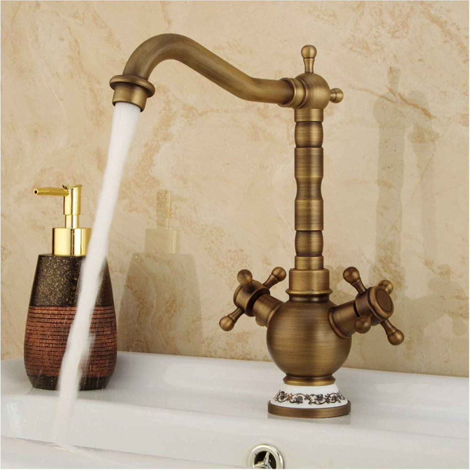 LLLYZZ Classic golden Bathroom Basin Faucet Mixer Toilet Faucet Double Handles Bath Brass Tap Hot Cold Water Mixer Control Deck Mount