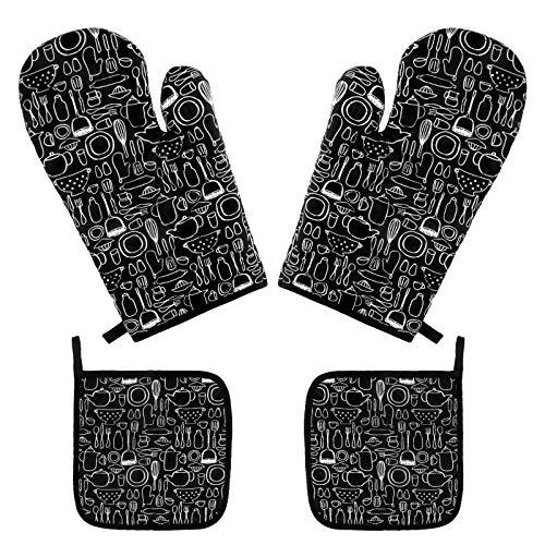 2 guantes para horno y 4 soportes para ollas calientes Conjunto, Guantes...