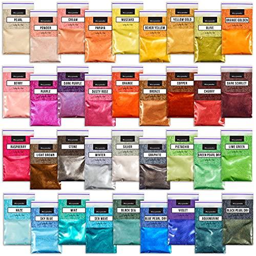 Mica Pigments 36 Colors Set - Soap Shop Mica Powder Set - Soap Coloring Set -...
