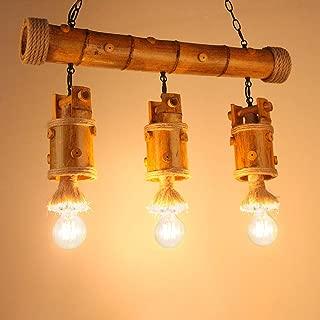 3-Lights Retro Industrial Hemp Pendant Light Bamboo Tube Body Height Adjustable Flush Mount Ceiling Light